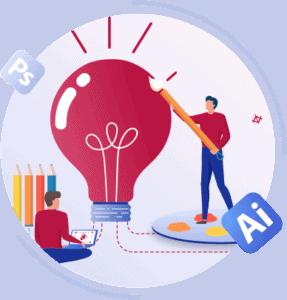 Mitarbeiter entwickeln grafische Konzepte und Entwürfe zur veranschaulichung