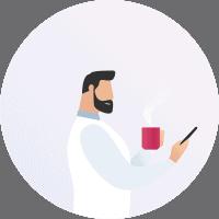 Illustration eines Kunden der auf dem Handy Webseiten surft
