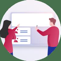 Illustration zweier Webdesigner welche den Entwurf einer Webseite besprechen