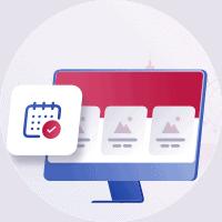 Bildschirm-Illustration mit fertigen Web- oder Print-Produkten und einem Kalender welcher ein erfülltes Zeitfenster darstellt