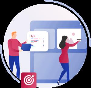 Illustration eines Webdesigners der die Inhalte einer Webdesignerin aufzeigt, welche diese Inhalte einbaut
