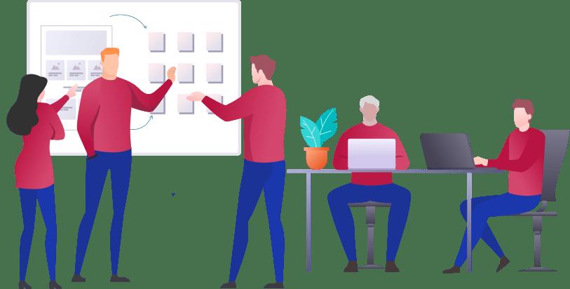 Illustration des Teams der Webagentur bacomedia beim besprechen eines Design-Konzepts.